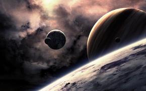 Картинка космос, звезды, поверхность, планеты