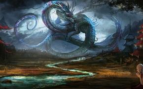 Картинка горы, река, дождь, дракон, азия, храм, мужчина, буддист