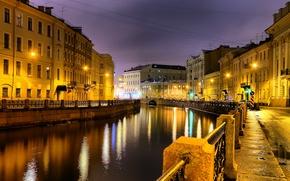 Картинка Санкт-Петербург, ночной город, река Мойка