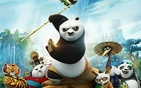 Картинка горы, мультфильм, деревня, мастер, тигрица, панды, персонажи, Kung Fu Panda 3, Кунг-фу Панда 3, Шифу