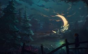 Картинка лес, ночь, луна, забор, елка, мальчик, арт, полумесяц
