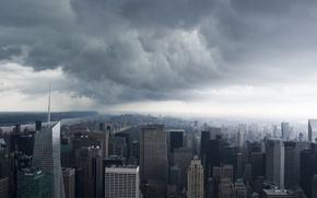 Обои Нью-Йорк, сша, New York, Manhattan, NYC, usa, Storm Clouds
