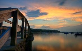 Картинка широкоэкранные, HD wallpapers, обои, судно, дерево, море, вода, полноэкранные, background, fullscreen, облака, широкоформатные, корабли, мост, ...