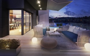 Картинка вилла, вечер, бассейн, терраса, люкс