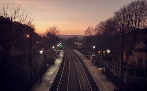 Картинка Railway, rails, people, station, city, lamp posts, power line, houses, trees, hill, silhouette, dusk
