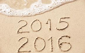 Картинка песок, море, пляж, Новый Год, цифры, New Year, Happy, 2016