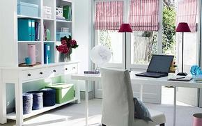 Картинка дизайн, стиль, стол, комната, интерьер, pastel color, modern office