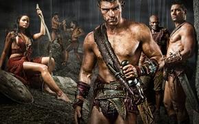 Обои гладиатор, МЕЧ, воин, сериал спартак, spartacus, песок и кровь