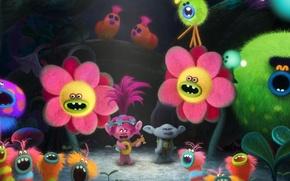 Картинка spider, fantasy, forest, magic, flower, pink hair, dress, pink, DreamWorks, cartoon, singer, hero, queen, Justin …