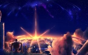 Картинка небо, звезды, облака, закат, природа, робот, аниме, арт, девочка, laputa: castle in the sky, небесный …