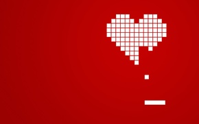 Обои красный, кубики, сердце