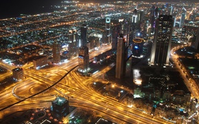 Обои дорога, ночь, город, огни, движение, здания, дома, небоскребы, выдержка, освещение, Дубай, мегаполис, ОАЭ, Объединённые Арабские ...