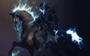 Картинка лошадь, скелет, всадник