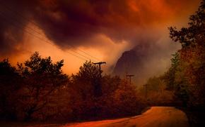 Картинка дорога, осень, ночь