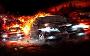 Обои авто, погоня, огонь