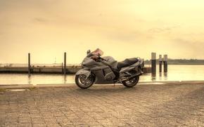 Картинка небо, серый, причал, мотоцикл, honda, bike, хонда, cbr1100xx