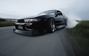 Картинка nissan, turbo, drift, black, japan, smoke, jdm, tuning, silvia, front, speed, s13, burnout, face, nismo, …