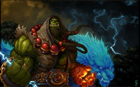 Обои молнии, орк, blizzard, world of warcraft, шаман мира, wolf, warchief, Тралл, Thrall, вождь, волки, ork, ...