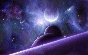 Картинка космос, звезды, туманность, планеты, арт, галактика, NathanBlackwolf
