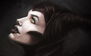 Картинка Девушка, Angelina Jolie, Лицо, Фильм, Maleficent, Малефисента