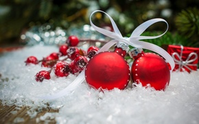 Картинка зима, снег, украшения, праздник, шары, рождество, Happy New Year, Christmas, balls, beautiful, winter, snow, beauty, …