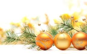Картинка шарики, игрушки, елка, ветка, Новый Год, Рождество, ёлка, Christmas, золотые, New Year