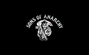Обои смерть, оружие, логотип, коса, сериал, sons of anarchy