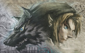 Картинка эльф, рисунок, волк, фэнтези