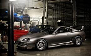 Картинка серый, Toyota Supra, WRX, tuning, гараж, STI, Тойота Супра, импреза, Impreza, тюнинг, передок, субару, синий, ...
