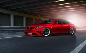 Картинка Lexus, Red, Car, Front, Sun, Matte, Tuning, Sport, GS300, Metallic
