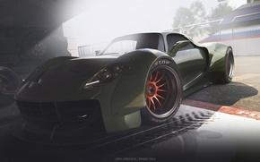 Картинка Concept, Porsche, Car, Race, Front, 918, Wheels, Garage, Ligth