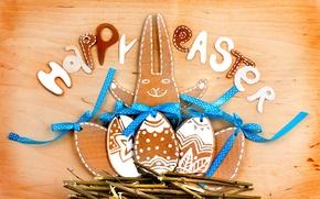 Картинка ветки, ленты, дерево, праздник, надпись, заяц, яйца, Пасха, гнездо, фигурки, Easter