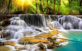 Картинка лес, деревья, река, камни, водопад, обработка, поток, Thailand, таиланд, каскад