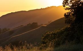 Картинка свет, пейзаж, закат, горы, природа