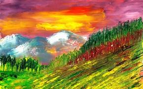 Картинка лето, пейзаж, природа, стиль, картина