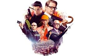 Картинка оружие, пистолеты, зонт, очки, белый фон, кепка, агент, постер, Colin Firth, Michael Caine, Майкл Кейн, ...