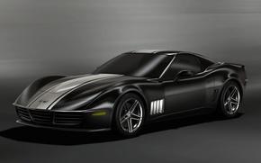 Обои черный, Chevrolet, концепт, corvette 3R