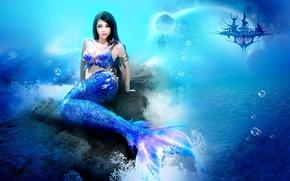 Обои море, девушка, фантастика, русалка, подводный мир