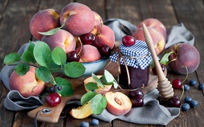 Картинка ягоды, натюрморт, персики, черешня, джем, голубика