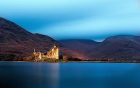 Картинка горы, озеро, Шотландия, Великобритания, дымка, lake, Scotland, Great Britain, Loch Awe, замок Килхурн, Kilchurn Castle