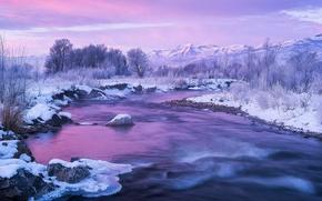 Картинка зима, снег, горы, лёд, США, штат Юта, река Прово