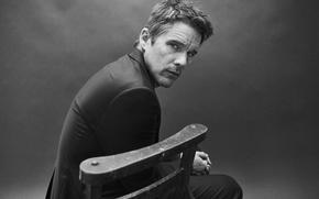 Картинка фото, стул, костюм, актер, черно-белое, Port, Ethan Hawke, Итан Хоук, Billy Kidd