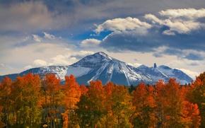 Картинка осень, лес, небо, облака, снег, деревья, горы, природа