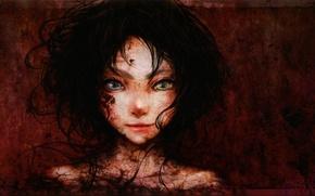 Обои портрет, арт, аниме, иная, гетерохромия, enta shiho, девушка, misaki mei, another, глаза