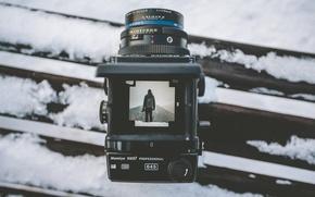 Картинка зима, снег, пейзаж, горы, фотография, камера, объектив, Mamiya, RZ67