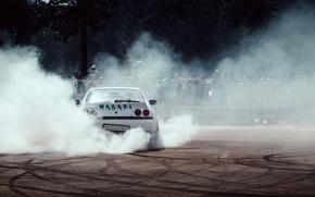 Картинка дым, дрифт, автомобили, skyline, cars, mcg