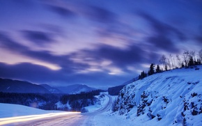 Картинка зима, дорога, снег, горы, природа, Канада, Альберта