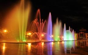 Картинка вода, ночь, фонари, фонтан