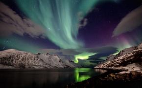 Картинка ночь, снег, горы, Исландия, северное сияние, небо