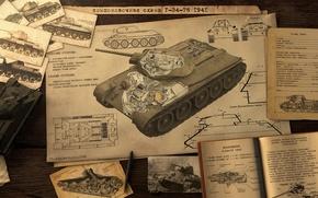 Обои Т-34-76, схема, Советский Танк, арт, танк, War thunder